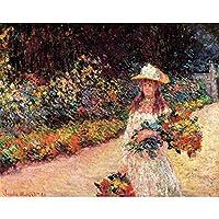 絵画パズルクロードモネの花を持つ美少女 (Size : 300pcs)