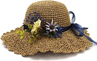 Summer hat Handmade Women Straw Bucket Hat Lady Sun Hat Flowered Sombrero All with Odorous Folding Beach Hat hat (Color : Coffee, Size : 56-58CM)
