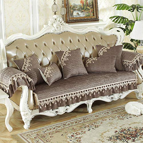 UTDFEOPSG Sofabezug Sofaüberwurf,Spitze rutschfeste Jacquard-Sofabezug, Schonbezüge für Wohnzimmermöbelbezüge Schnittcouch Brauner Lendenkissenbezug 30 * 50cm