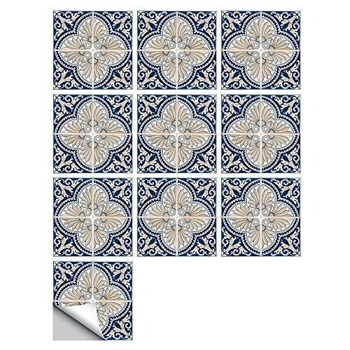 Fawyhr Pegatinas de azulejos, baldosas de paletas Piso de la calcomanía, 10 unids Art Mural Peel Impermeable Etiqueta de pared desmontable Etiqueta de etiqueta de la pared para cocina Accesorio Acceso