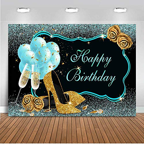 Mocsicka Teal Gold Happy Birthday Backdrop Glitter Turquoise Balloons High Heels Champagne Woman's Birthday Photo Backdrops Sweet 16th 21st 30th 40th Bday Photography Background (7x5ft)