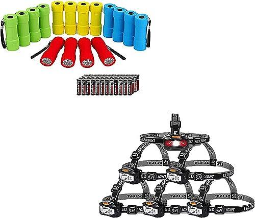 EverBrite 16-pack Mini LED Flashlights & 6-pack Headlamp AAA Batteries Included