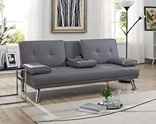 Amazon.com: Grey - Leather / Sofas & Couches / Living Room Furniture ...