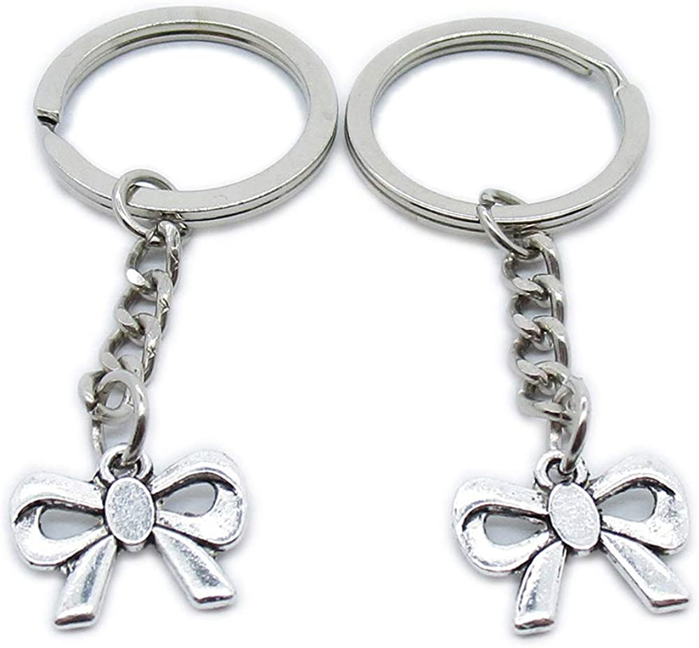Max 74% OFF Antique Silver Plated Keyrings Keychains Ke Bow Tie Bowtie Bargain sale CE8Y3