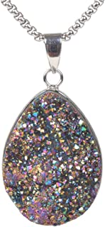 JUST IN STONES Metallic Color Coated Drusy Druzy Crystal Various Shape Flatback Edged Pendant Necklace 20 Inches