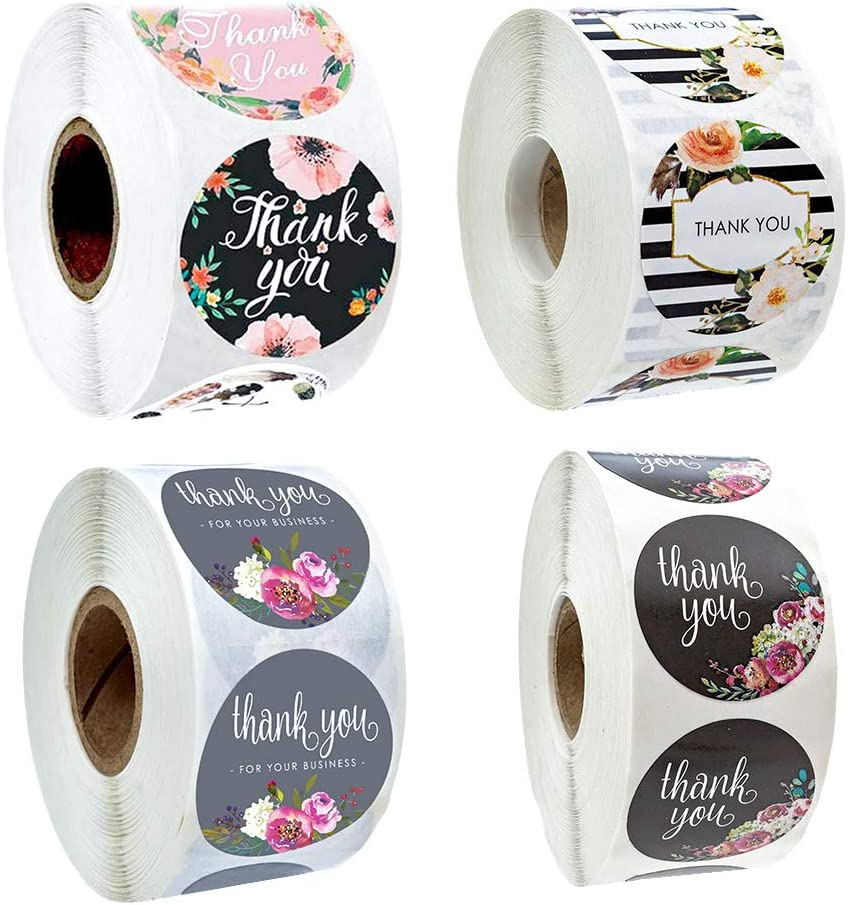 Floral Thank You Label Sticker Water Color Flower Design 500 Labels per Roll for Birthdays 1.0 inch for Wedding Birthday Party Business (A1)