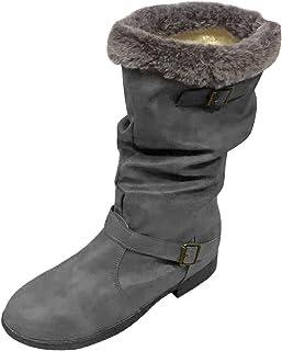 DAIFINEY Winterlaarzen voor dames, retro, hoge laarzen, warm gevoerd, halfhoge laarzen, boots, instaplaarzen, sneeuwlaarze...