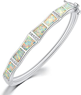 CiNily Created Blue White Fire Opal Zircon Rhodium Plated for Women Jewelry Gemstone Bangle Bracelet 8 3/8