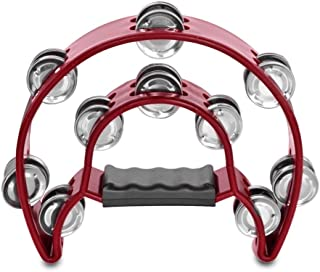 Flexzion Pandereta de Forma Media Luna 10 pares 20 Sonajas Jingles Pulgadas de Mango Ergonómico Instrumento Musical de Percussión Tamaño Profesional Juegos de Niños Regalo Color Rojo