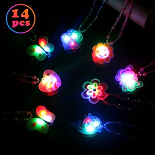 Satkago 14PCS LED Light Up Necklace, Glow in The Dark Pendant Toys Birthday Party Favors for Kids Supplies