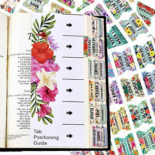 Bible Index Tabs New & Old Testament Tabs Matte Laminated Floral Design - 121 Pcs