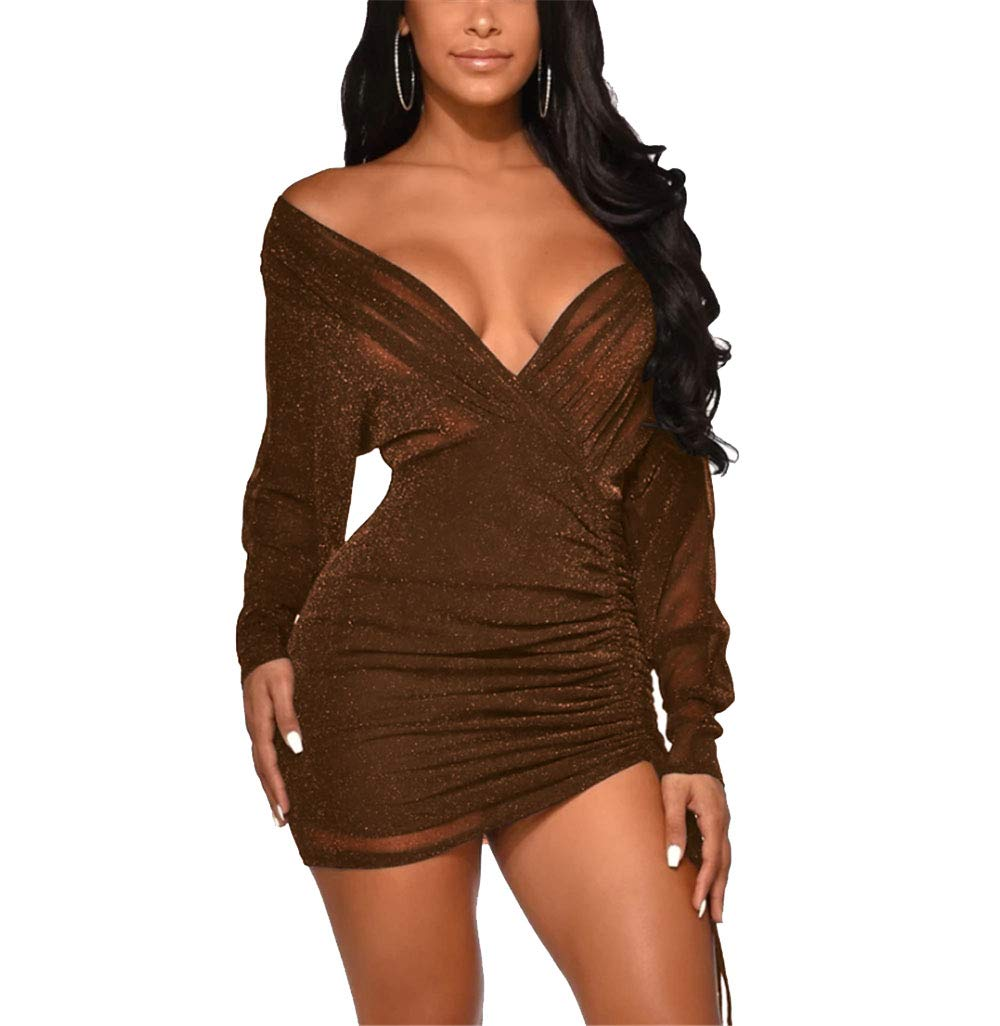Available at Amazon: OLUOLIN Women's Sexy V Neck Sparkle Glitter Sheer Mesh Bodycon Ruched Drawstring Long Sleeve Evening Party Dress