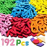 192 Pcs Magnetic Letters Numbers 9 Color(With Pattern Blocks,Symbols) Foam Set, Alphabet Magnets Gift for Preschool Kids Children Toddler Educational Fridge Refrigerator Toy, Classroom School Learning