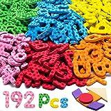 192 piezas letras magnéticas en gomaespuma de colores con formas geométricas, símbolos y números - imanes del alfabeto educativos para niños de preescolar para aprender jugar o pegar en la nevera