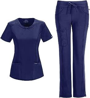 Cherokee Infinity Women's Scrub Set - 2624A Round Neck Top & 1123A Low Rise Straight Leg Drawstring Pant