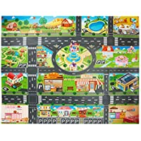 Alfombra de juguete(39*51in/100*130cm)PVC Road Playmat juguete, alfombra de plástico para niños, alfombra impermeable ciudad vida ideal para jugar con coches y juguetes