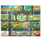 Alfombra de juguete(39*51in/100*130cm)Road Playmat juguete, PVC alfombra de plástico para niños, alfombra impermeable ciudad vida ideal para jugar con coches y juguetes