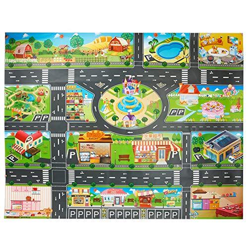 Alfombra de juguete(39*51in/100*130cm)Road Playmat juguete, PVC alfombra de plástico para niños, alfombra impermeable...