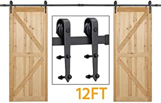 Yaheetech 12Ft Sliding Barn Door Closet Hardware Set Black Wood Antique Style Double Track Kit System