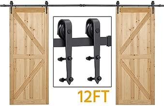 Yaheetech 12Ft Sliding Barn Door Closet Hardware Set Black Wood Antique Style Double Track Kit System