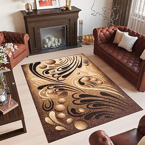 tappeto salotto classico TAPISO Bali Tappeto Moderno Salotto Astratto Soggiorno Sala da Pranzo Beige Marrone Classico A Pelo Corto 160 x 220 cm