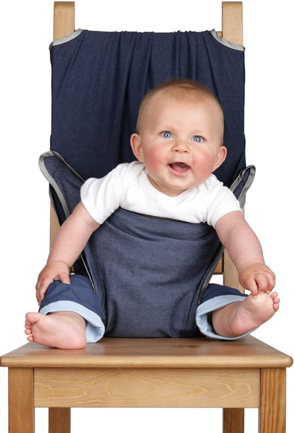 Totseat Chair Harness  The Washable and Squashable Travel High Chair in Denim