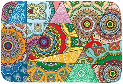 EGGDIOQ Doormats Mosiac Mandalas Custom Print Bathroom Mat Waterproof Fabric Kitchen Entrance Rug, 23.6 x 15.7in