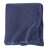 Brielle Home Darren 100% Cotton Waffle Weave Thermal Blanket, Navy, King/Cal King