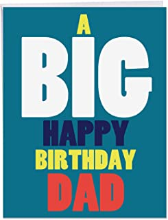 Big Happy Birthday Father' Big Greeting Card with Envelope 8.5 x 11 Inch - for the Best Dad Daddy Papa Father Pops, Colorful Font Stationery Set for Personalized Bday Greetings and Wishes J5973BFG
