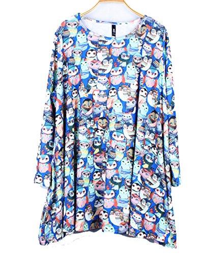 YALI Impression de dessin animé en tricot avec grande robe Taille unique Bleu perroquet