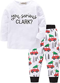 Toddle Boy You Serious Clark? Cotton Long Sleeve Top and Car Pattern Pants 2 Pcs Pajamas Outfit Set