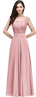 Women's Long Prom Lace Applique Dress Formal Bridesmaid Wedding Gowns