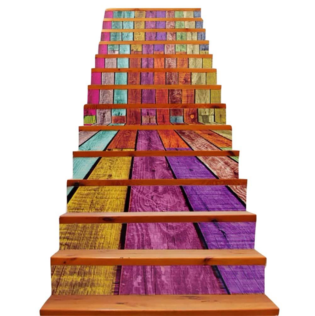 Kumiy 3D Paisaje Natural Escaleras Elevadores Pegatinas, murales de Pared de Vinilo Pegatinas Escalera, Autoadhesivo Papel Pintado decoración 39.3Inch x 7.08Inch x 13pcs (C): Amazon.es: Hogar