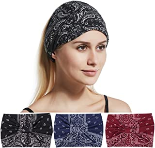 Adflyco Boho Workout Flower Wide Knot Headbands Set Yoga Criss Hair Bands Stretch Fabric Head Scarf for Women and Girls (3PCS)