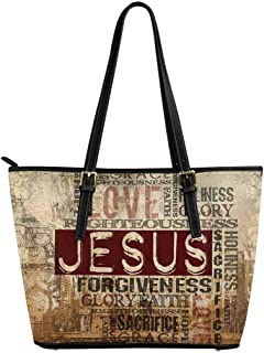 InterestPrint Christian Religious Bible Verse Leather Tote Shoulder Bags Handbags for Women