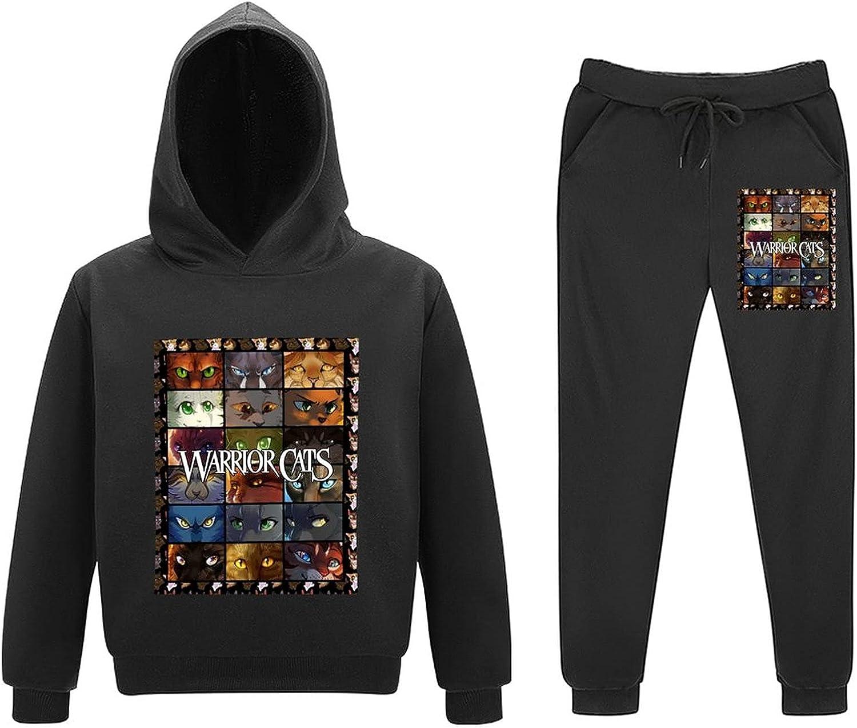 War·Riors Cats Kids Hoodies And Sweatpants Suit 2 Piece Sweatshirt Set For Boys Girls