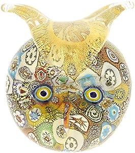 GlassOfVenice Edredón dorado de cristal de Murano Millefiori búho