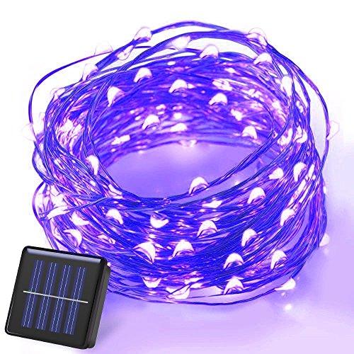 Haichen - Guirlande solaire, 10 m - 100 LED - Pour jardin - Arbre de Noël - Décoration de fête, de mariage