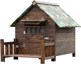 YCDJCS Kennel Outdoor Wooden Dog House Large Waterproof Fence Dog House Indoor Cat Guinea Pig Puppy House Pet Villa Gift (...