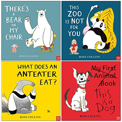 Ross Collins Collection 4 Books Set (There's a Bear on My Chair, This Zoo is Not for You, What Does An Anteater Eat, This is a Dog)