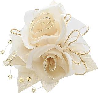 [鎌倉工芸] 巻き バラ 3輪寄せ クリップ付き フラワー フォーマル コサージュ ホワイト ベージュ