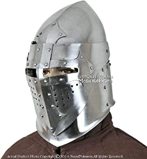 QUALITYMUSICSHOP Functional 16G Steel Medieval Knight Pig Face Bascinet Helmet WMA SCA LARP Armor