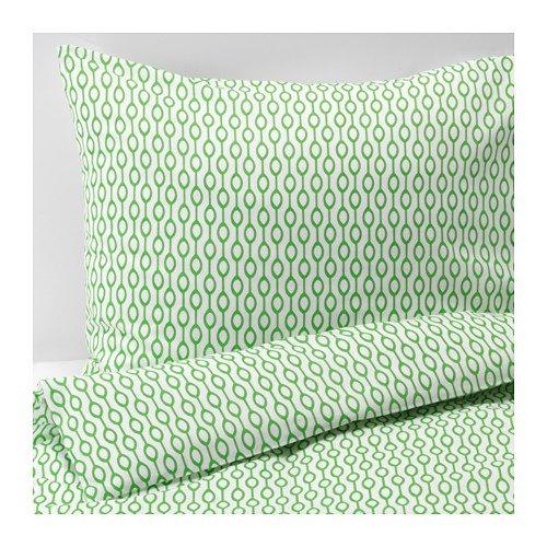 IKEA イケア RÖDVED シングル 掛け布団カバー&枕カバー ホワイト グリーン 150×200cm 50×60cm 90304342
