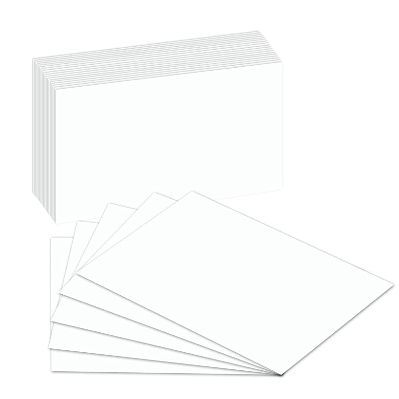 Blank Index Flash Note Cards | 80lb Heavyweight Thick White Cover Stock. 100 Cards Per Pack | 5 x 8