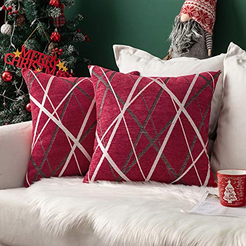 MIULEE Christmas Cushion Covers Chocolate Ice Cream Line Decorative Square Pillowcases for Couch Livingroom Sofa Bed with Invisible Zipper 40cm x 40cm 16x16 Inches 2 Pieces Red