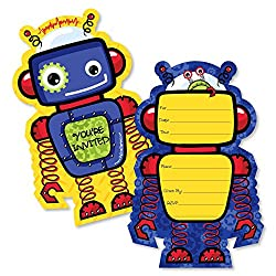 Adorable robot birthday card invitations.