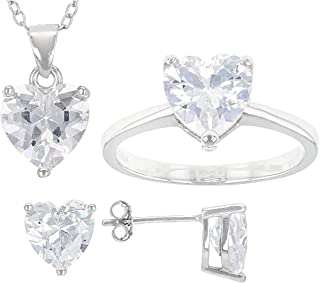 JTV-White Cubic Zirconia Rhodium Over Sterling Heart Earrings, Ring, And Pendant With Chain 10.44ctw