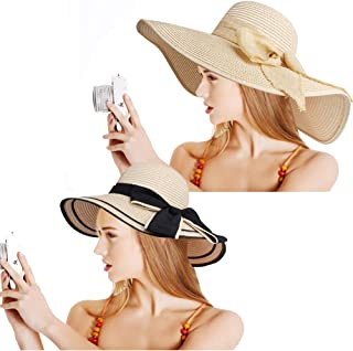 Hicdaw 2PCS Women Straw Hat Wide Brim Straw Hat Beach Sun Hat UPF 50+ for Women and Girls Beige