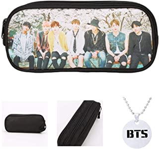 Youyouchard Kit BTS Bangtan Boys Kit Kpop BTS Pencil Case Pencil Bag Stationery School Supply Bag with BTS Necklace Best Gift for Army(Style 07)
