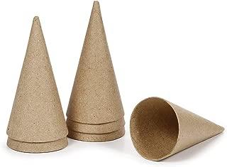 Darice FBA_2873-852 Paper Mache Cone-4 x 2 inches-6 Pieces, 4-inch, Brown